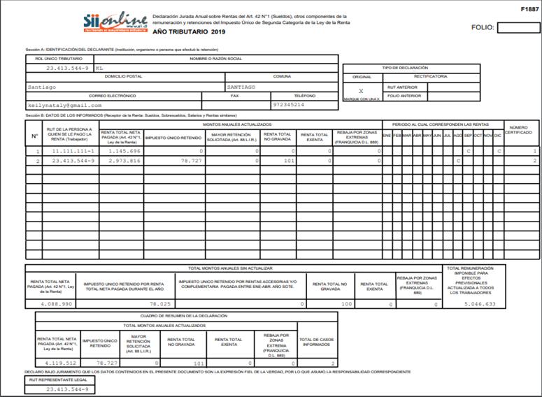 Modelo de DDJJ emitida desde el sistema de contabilidad de Nubox